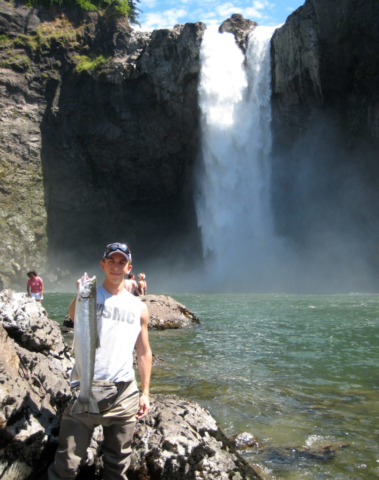 We don't catch that many Summer Steelhead on the Snoqualmie River any more, but it used to be a local favorite of mine. Here's Kiley with one out of the Snoqualmie Falls pool