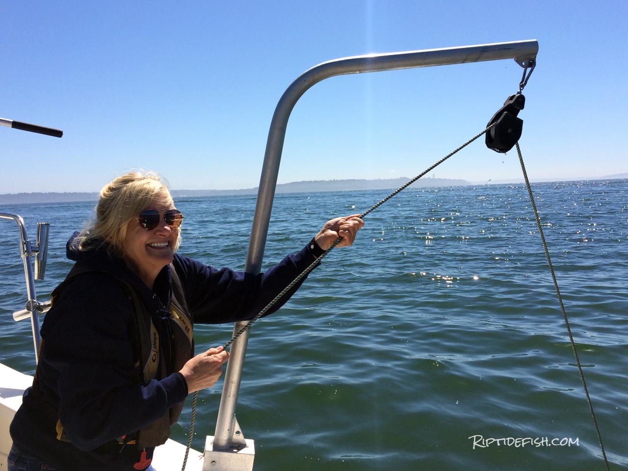 Crabbing davit