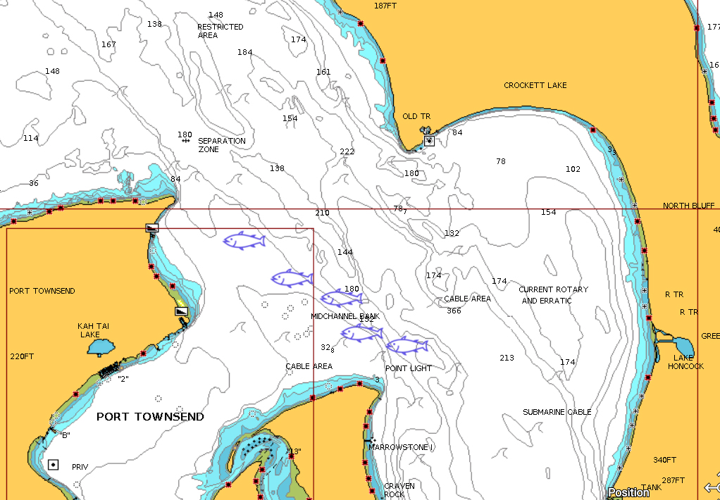 Mid Channel Bank Chinook Salmon Fishing Map.