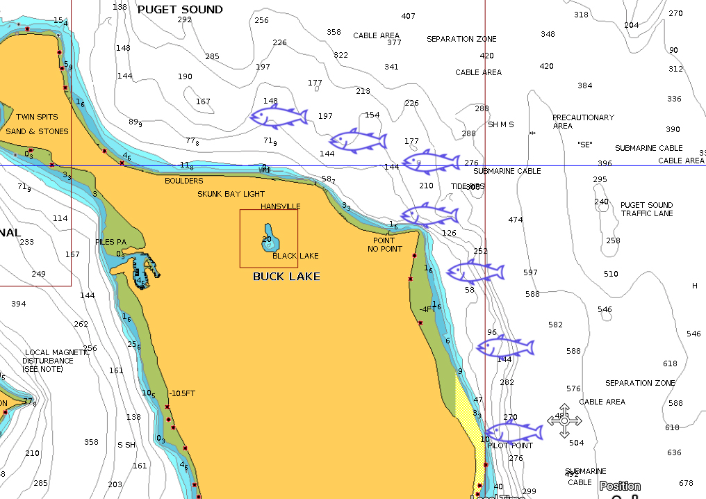 Point No Point, Pilot Point and Skunk Bay Salmon fishing map.