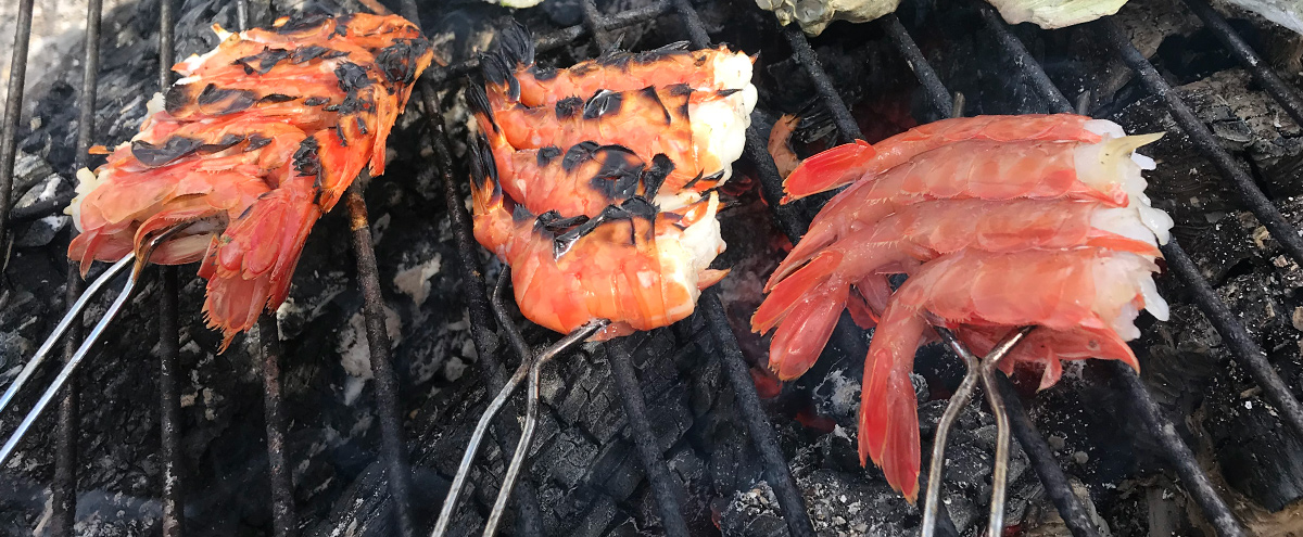 Spot Shrimp seared over the coals of our backyard fire. Yum!