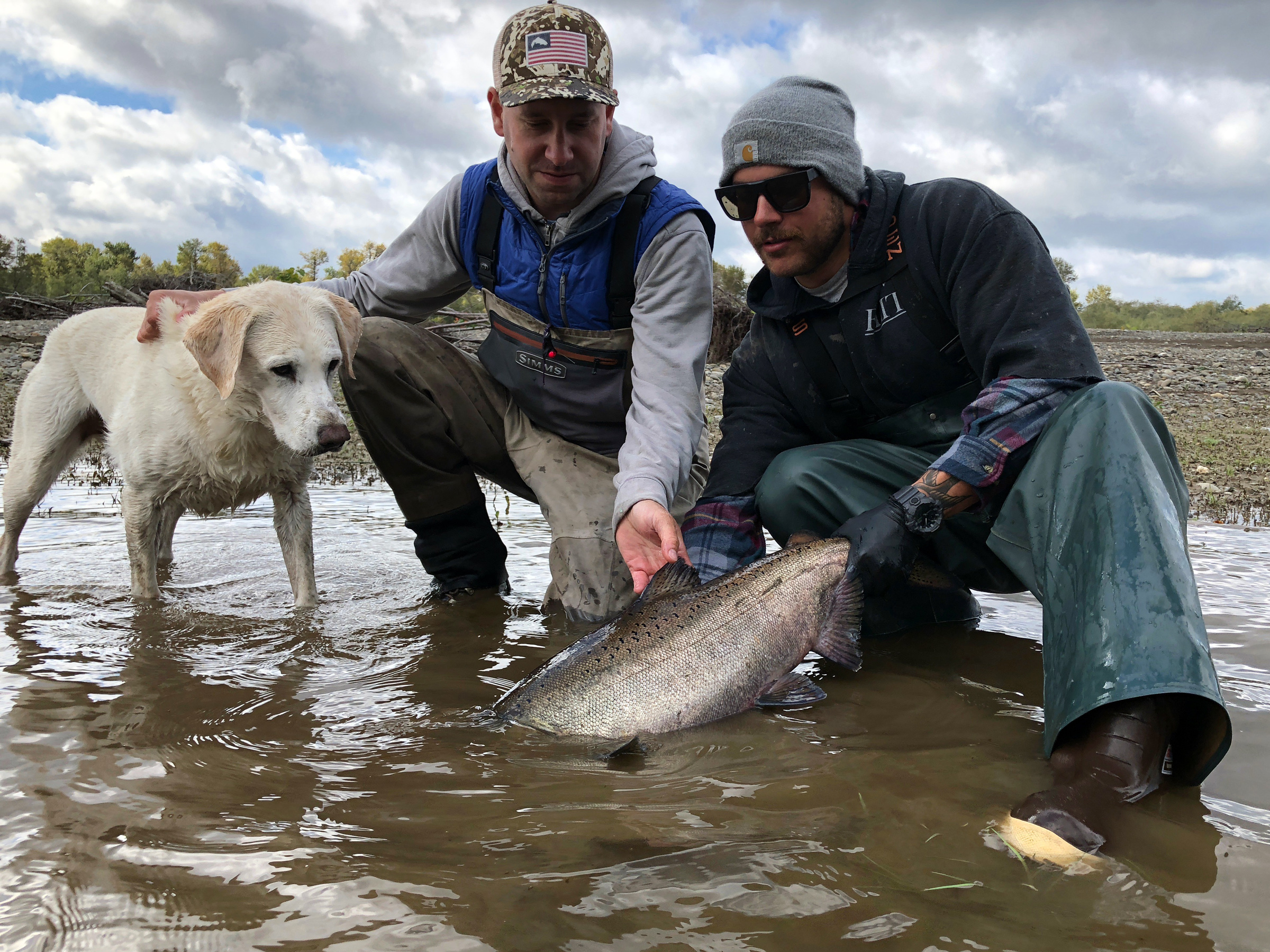Me, Mitch and Miles admire a prized Humptulips River Chinook Salmon.