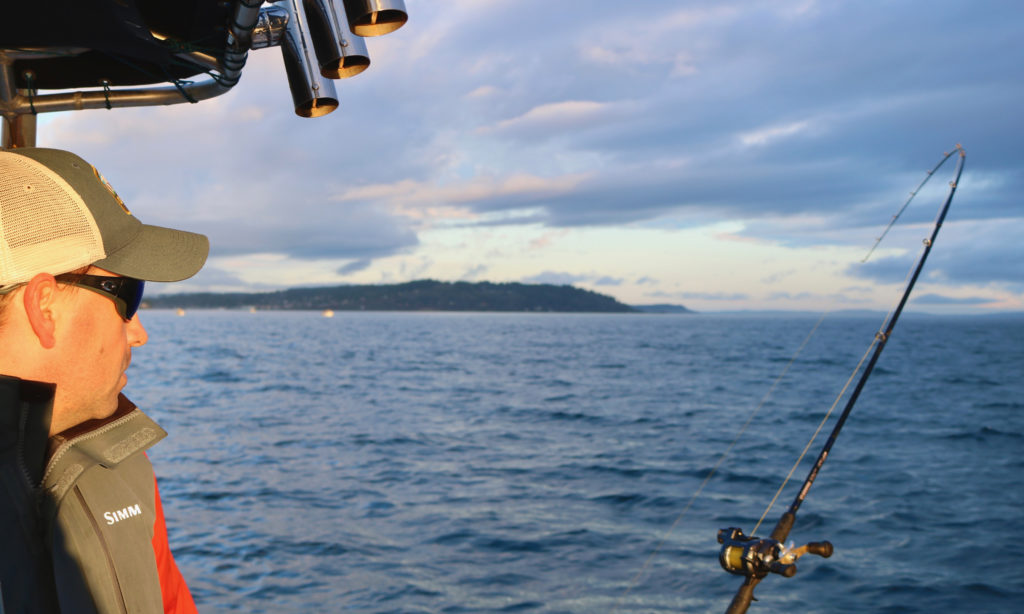 Trolling for salmon in Puget Sound.