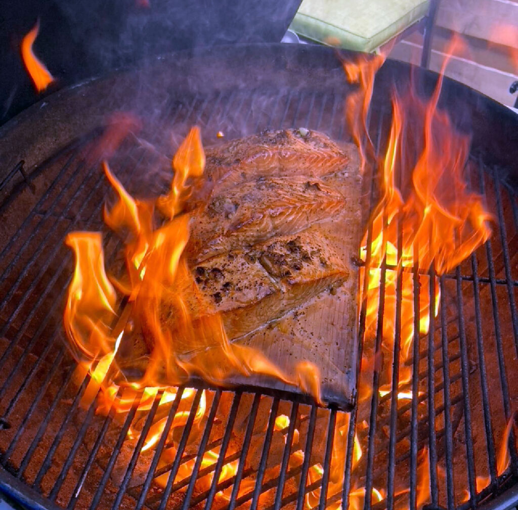 Flame grilled cedar plank salmon