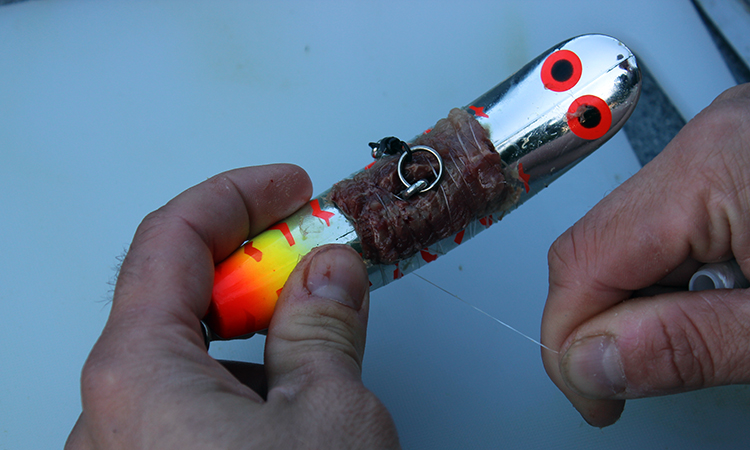 how to wrap maglip kwikfish lures with sardine bait