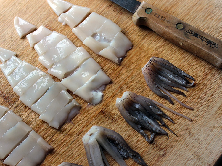 Cleaning and preparing Puget Sound squid for frying